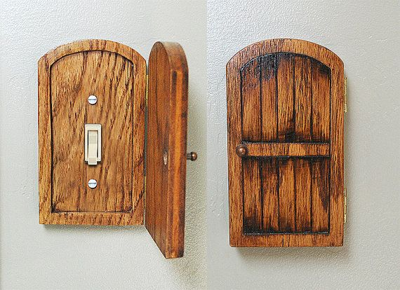 Decorative Outlet Covers Distressed Wood Fairy Hobbit Door Outlet Switchplate Cover
