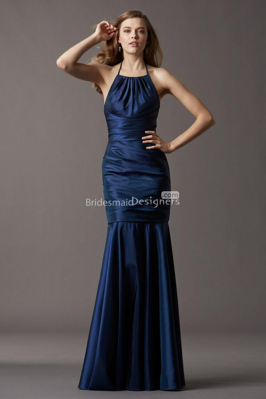 navy wedding dress halter mermaid sleeveless navy blue long drop waist bridesmaid dress US 00