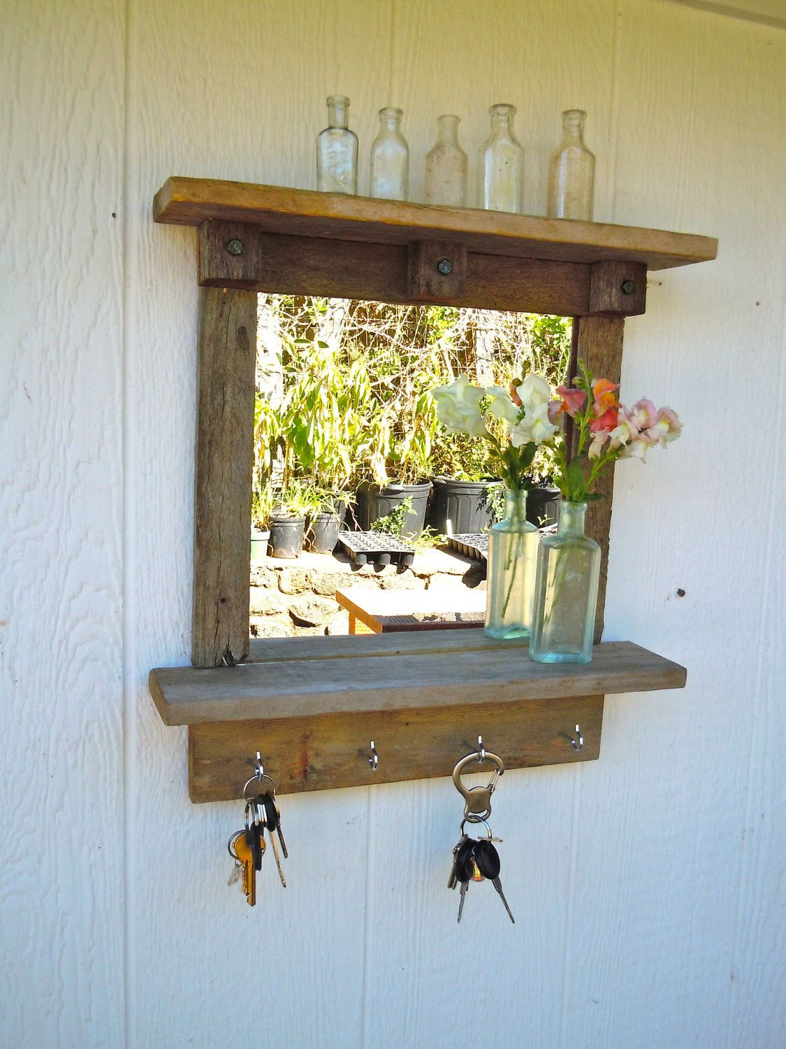 Wooden Key Holder With Shelf Reclaimed Wood Rustic Craftsman Style Mirror With Shelves