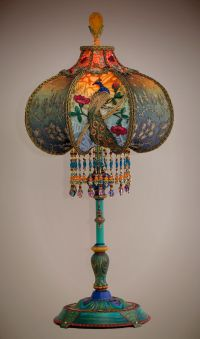 Beautiful and unusual 1920s era table lamp with peacock ...
