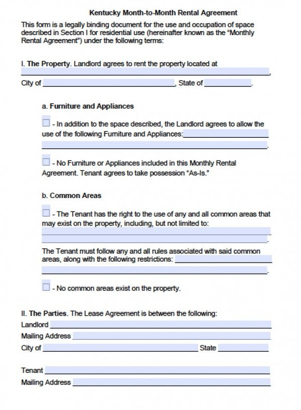 Printable Sample Monthly Rental Agreement Form Real Estate Forms   Lease  Agreement Format