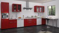 Red and white kitchen designs | Straight kitchen designs ...