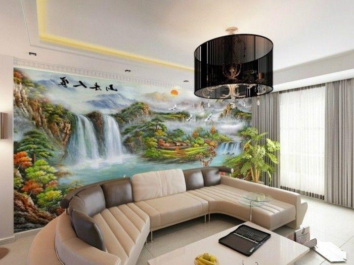 Wohnzimmer Beispiel Tapeten - Wohndesign