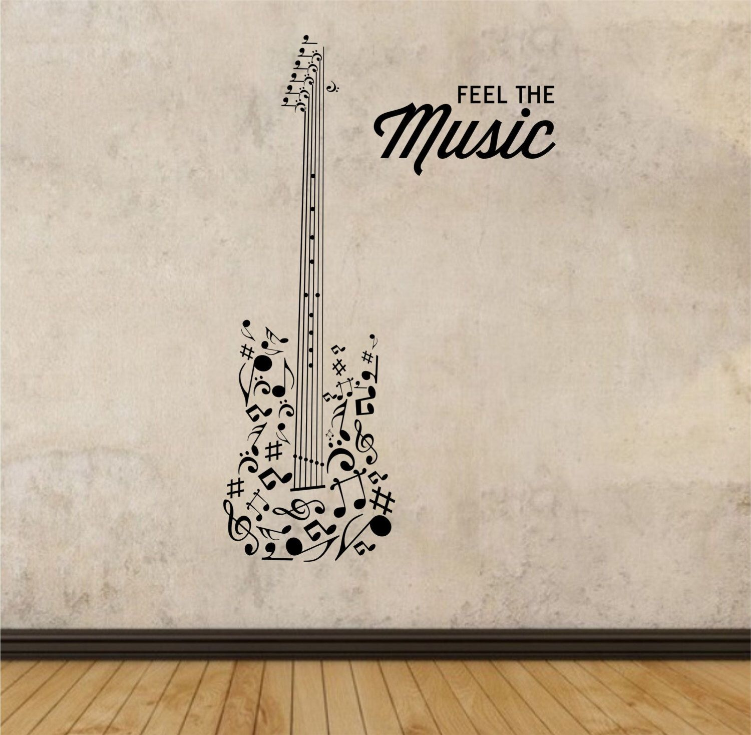 Guitar Decor For Bedroom Guitar Wall Decal Feel The Music Quote Vinyl Sticker Art