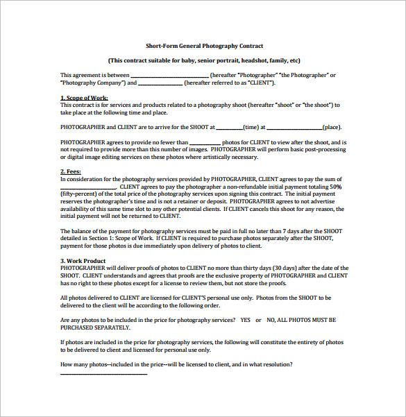 Short Form General Photography Contract PDF Free Download - photography contracts