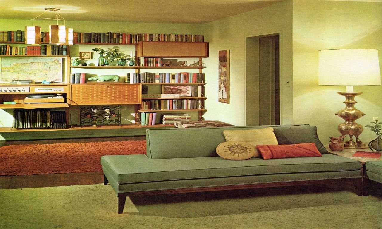 1960s living room with LPs, wine rack, and extremely