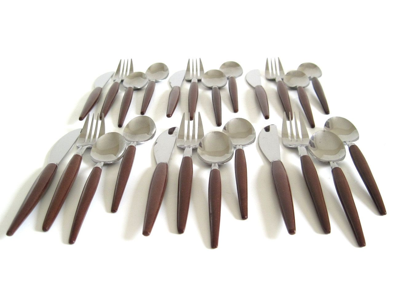 Contemporary Stainless Steel Flatware Stainless Flatware Set Quotwood Quot Handles Basic Service For