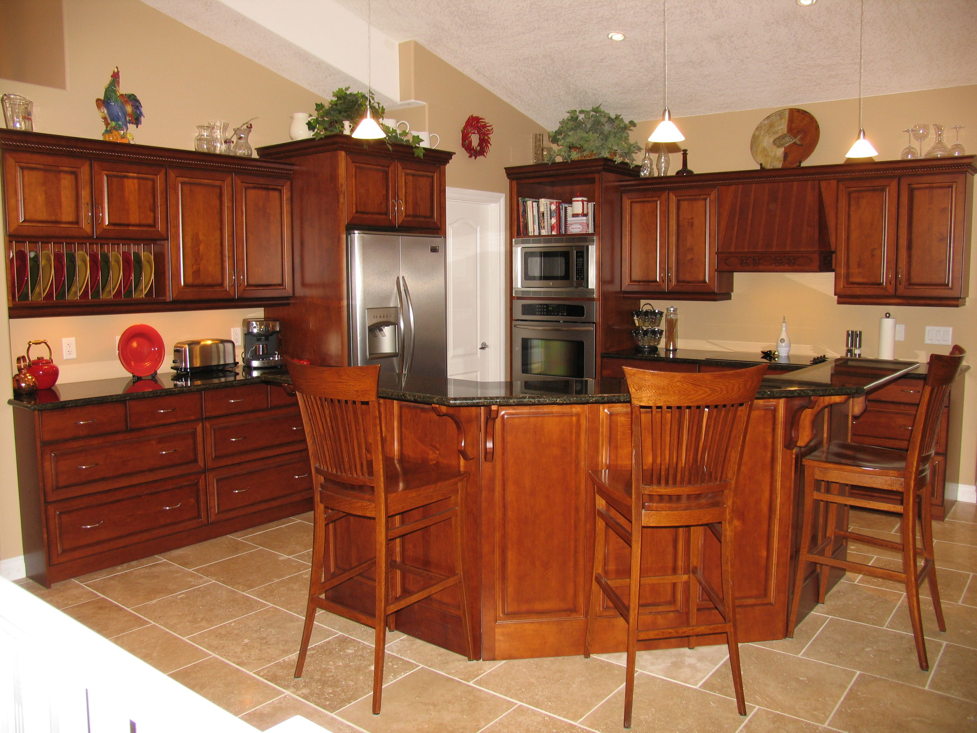 traditional hampton bay kitchen cabinets Cabinets Maple Cognac Countertops Granite Ubatuba