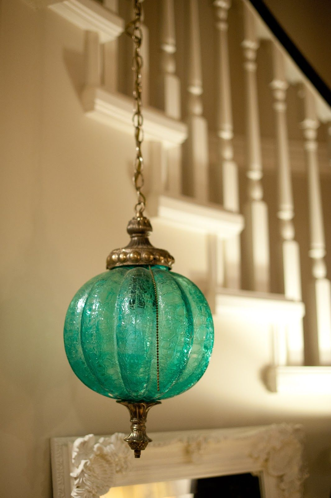 Green Glass Pendant Light Pretty Vintage Turquoise Glass Pendant Light Vintage Home