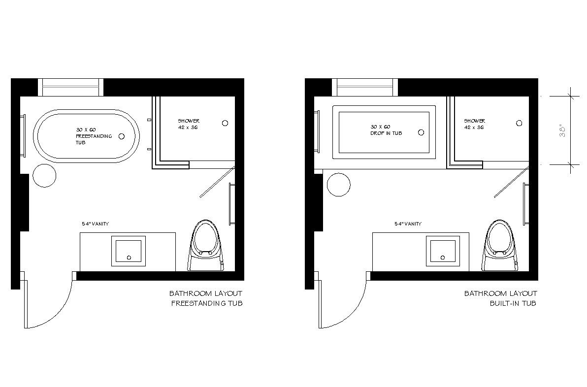 Narrow master suite layout before after e design bathroom