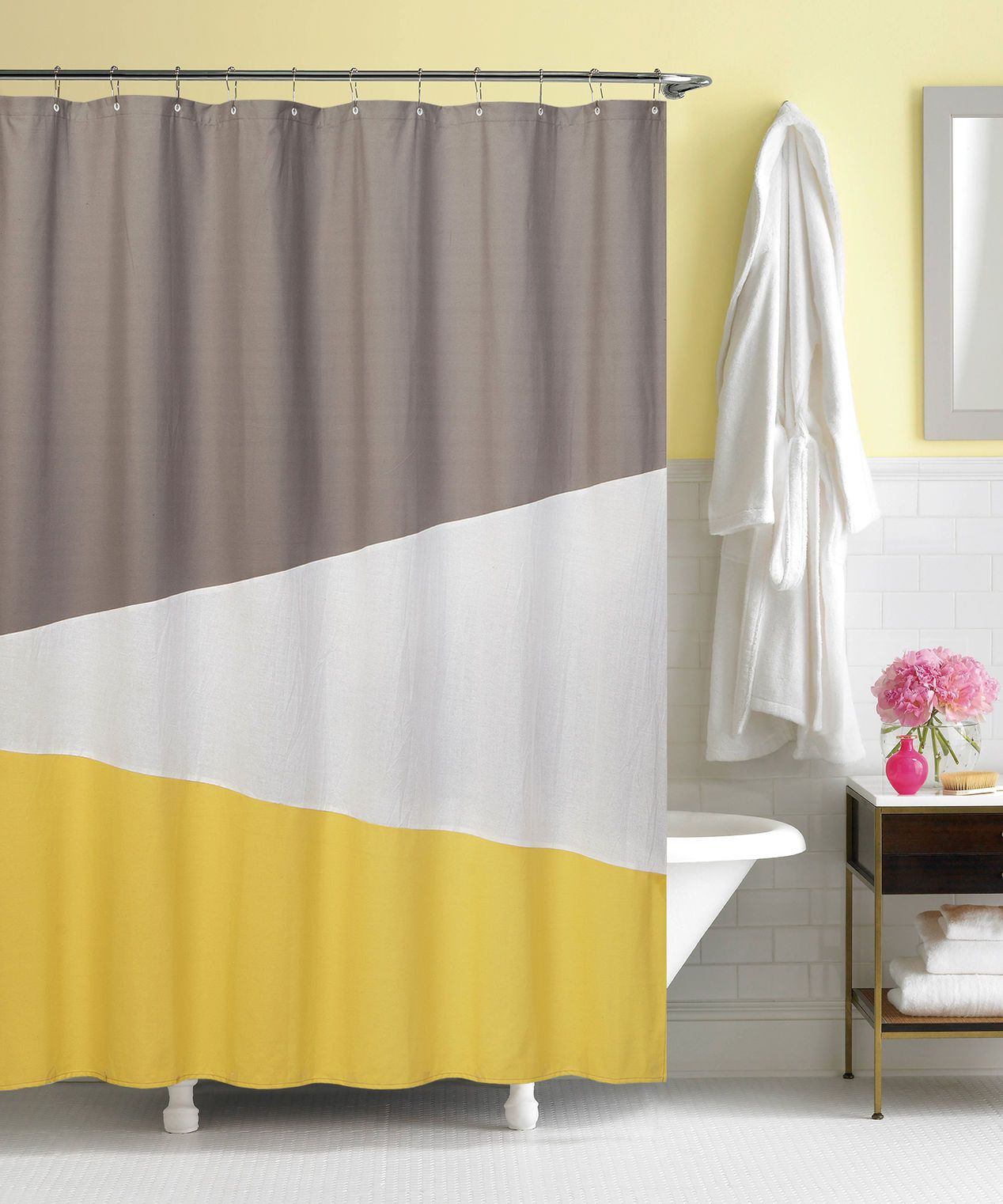Yellow Fabric Shower Curtain Yellow And Gray Color Block Shower Curtain At Home