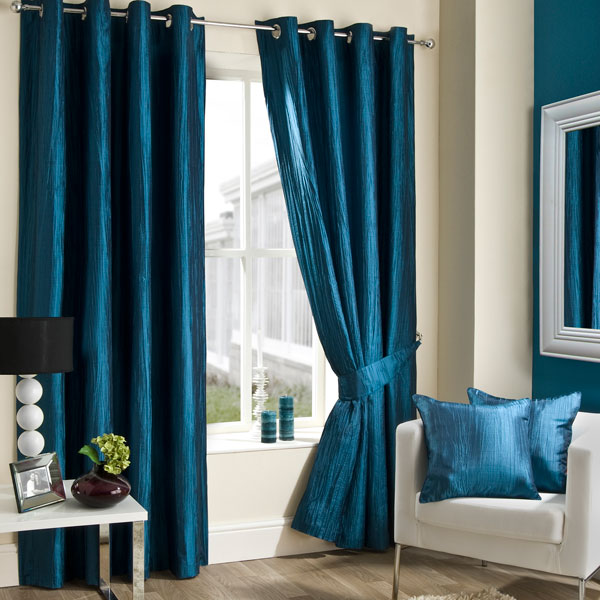 Teal Crushed Taffeta Curtain Collection Dunelm Mill Living - teal living room curtains