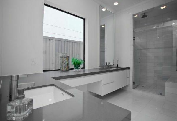 badezimmer-farbgestaltung-wände-graue-farbnuancen - fenster - badezimmer farbgestaltung