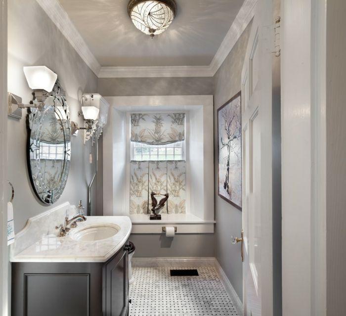 bodenbelag design badezimmer hellgraue wände wandleuchten - badezimmer bodenbelag