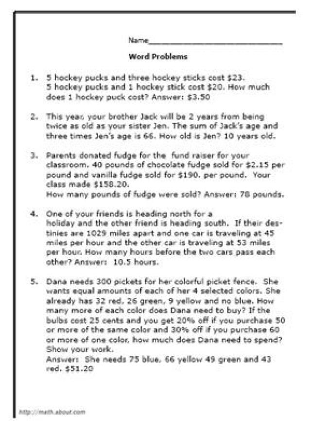 Quiz 8th-Graders With These Math Word Problems Math word - sample word problem worksheets