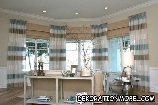 wohnzimmer-beige-blau-konsolentisch-dekorationen-panoramafenster - wohnzimmer beige blau