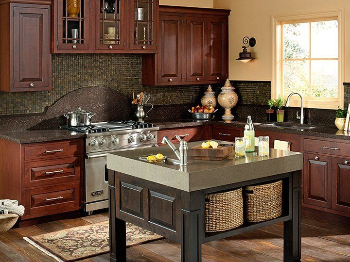 Images Of Rustic Mahogany Cabinets In Kitchens Cambria Quartz Countertop With Tile Backsplash And