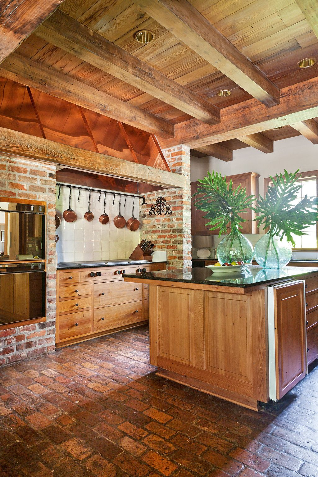 Reclaimed Wood Kitchen Cabinets Homes For 3 Million Brick Flooring Beams And Bricks