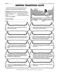 Worksheet: Native American traditions | Native American ...
