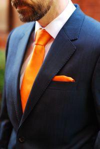 Blue Reiss suit and orange tie | Laranja ... a Cor ...