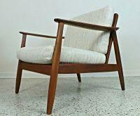 mid century Danish modern cane back DUX lounge chair tweed ...