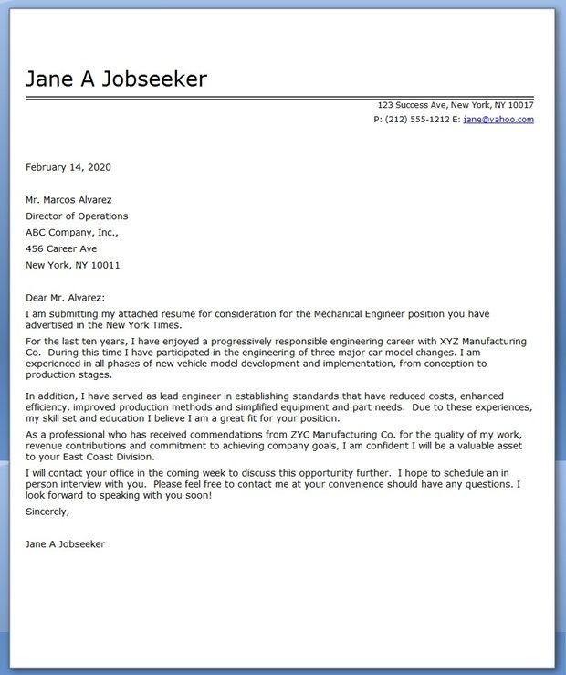 Cover Letter Mechanical Engineer Sample Creative Resume Design - how to write cover letter for job