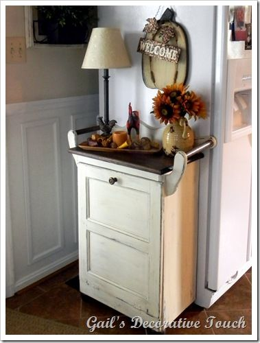 8 Sneaky Ways to Hide an Ugly Trash Can Country chic, Tutorials - kitchen trash can ideas