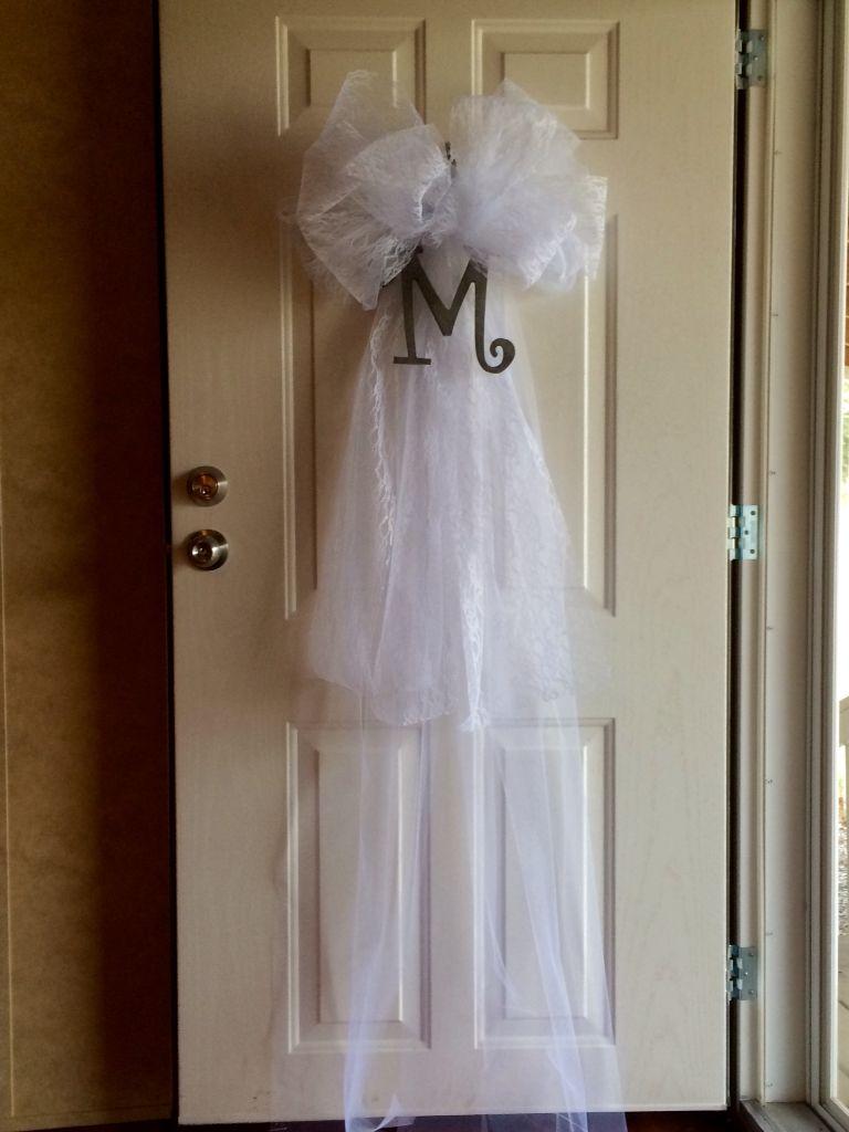 Wedding veil door decoration for Brook's shower