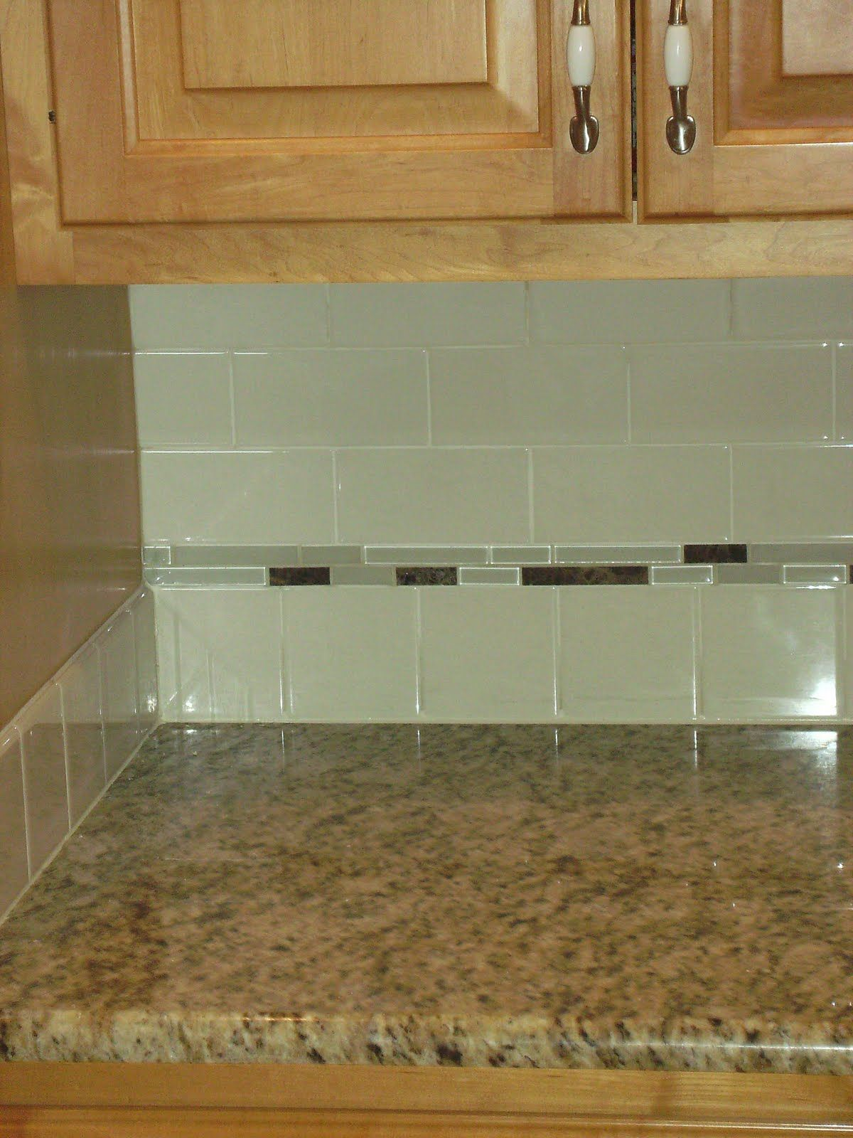 Kitchen Design Subway Tile Backsplash Green Glass Subway Tiles With Small Grey Glass Accent