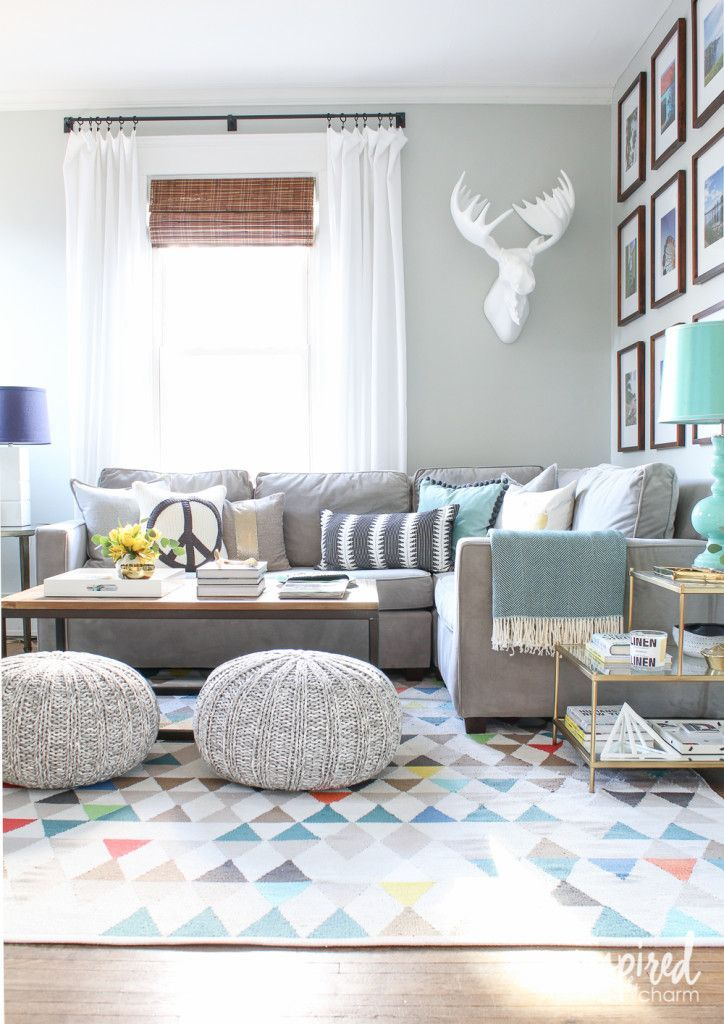 Spring Living Room Poufs, Note and Grey - poufs for living room