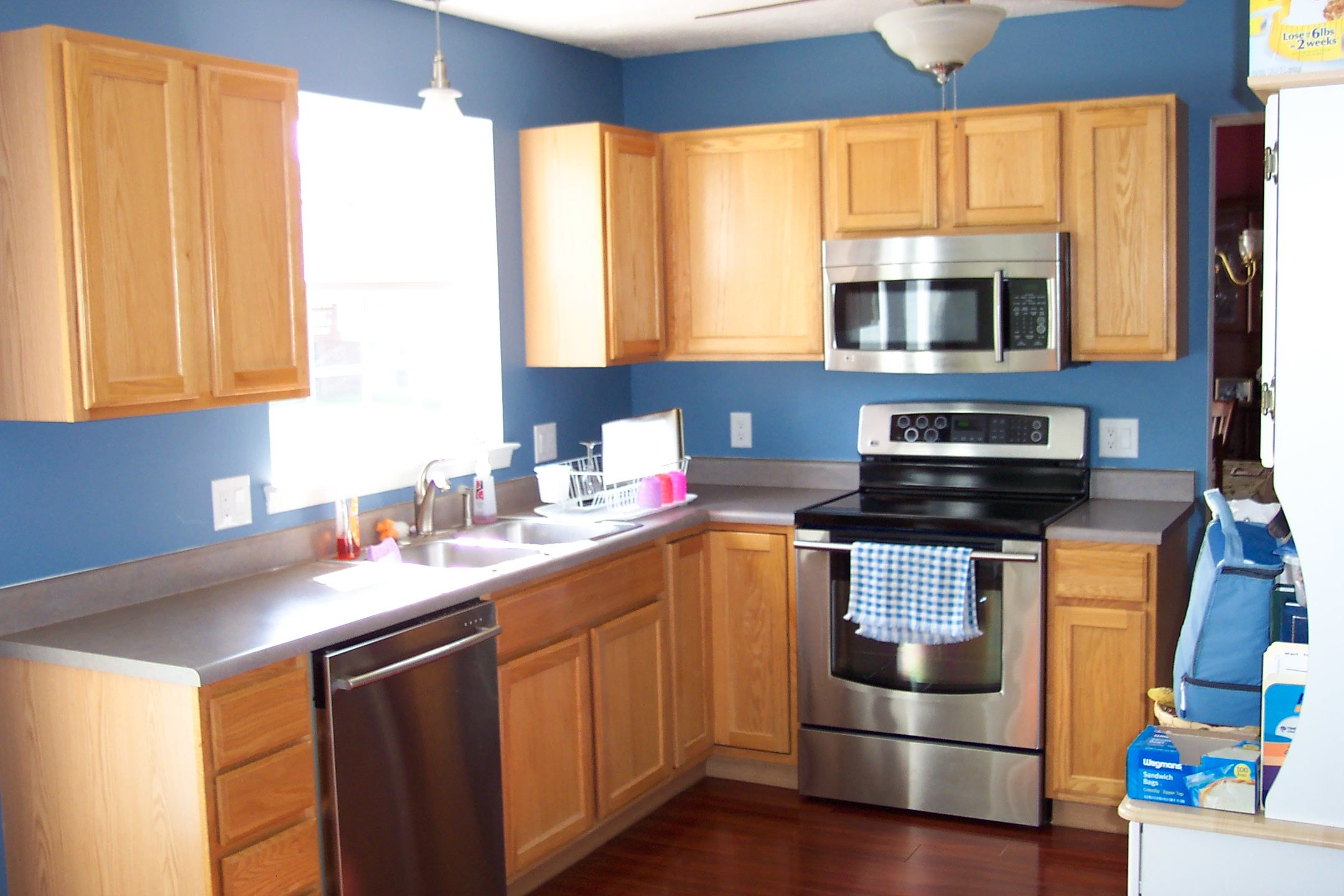 Blue In Kitchen Fantatsic Light Brown Kitchen Cabinet Color With Gray