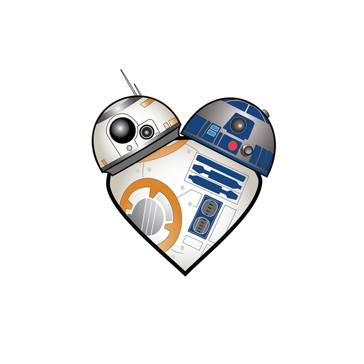 My r2 bb8 heart design is now a t shirt you can buy