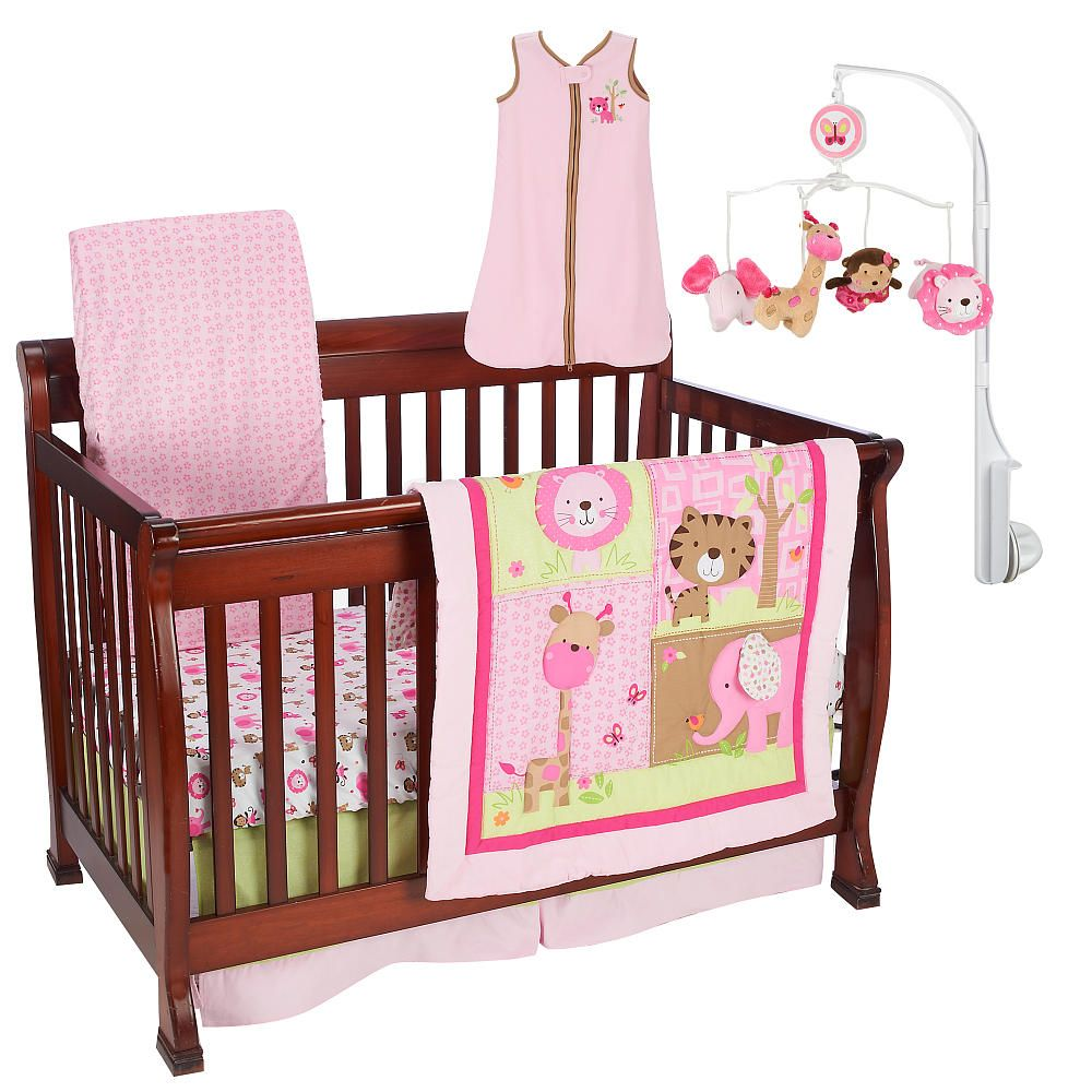 Just Born Girls Sassy Safari 6 Piece Crib Bedding Set