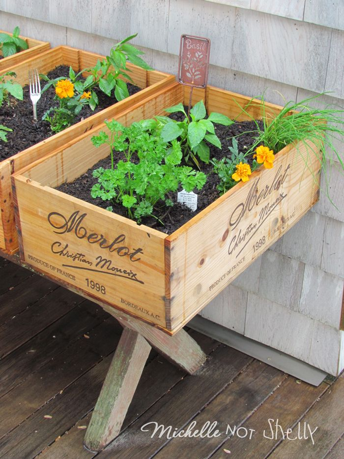 Diy Herb Garden Using Wine Boxes Projects To Try