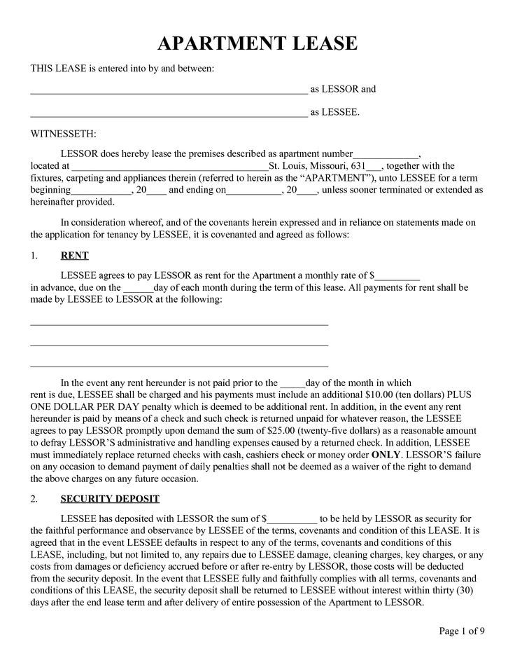 Printable Sample Rental Lease Form Real Estate Forms Word - apartment rental contract sample