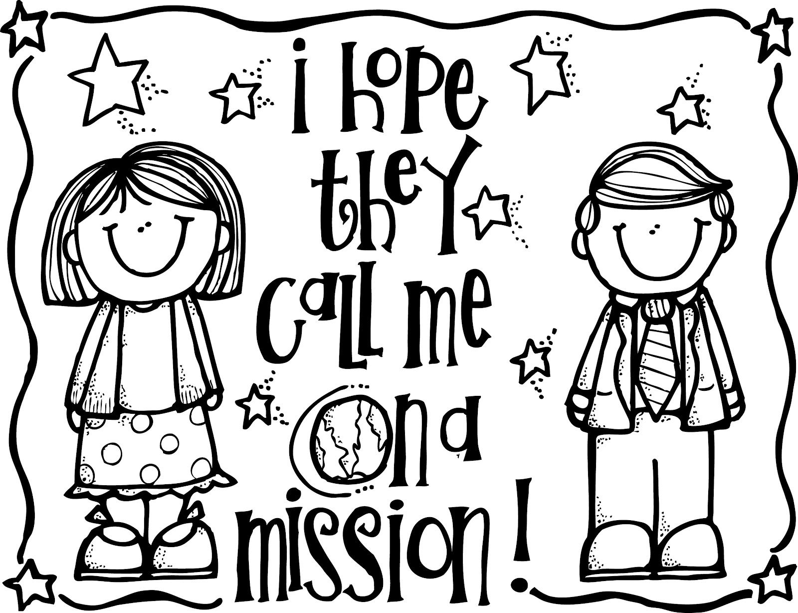 Melonheadz lds illustrating i hope they call me on a mission coloring page