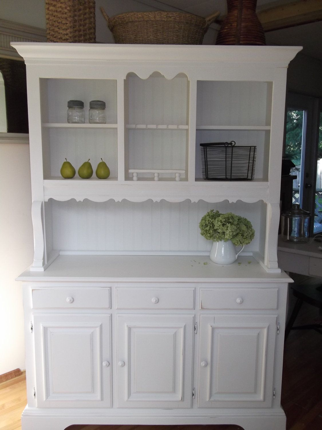 kitchen hutch cabinets Shabby Cottage French Country Farmhouse White Hutch Buffet China Cabinet 00