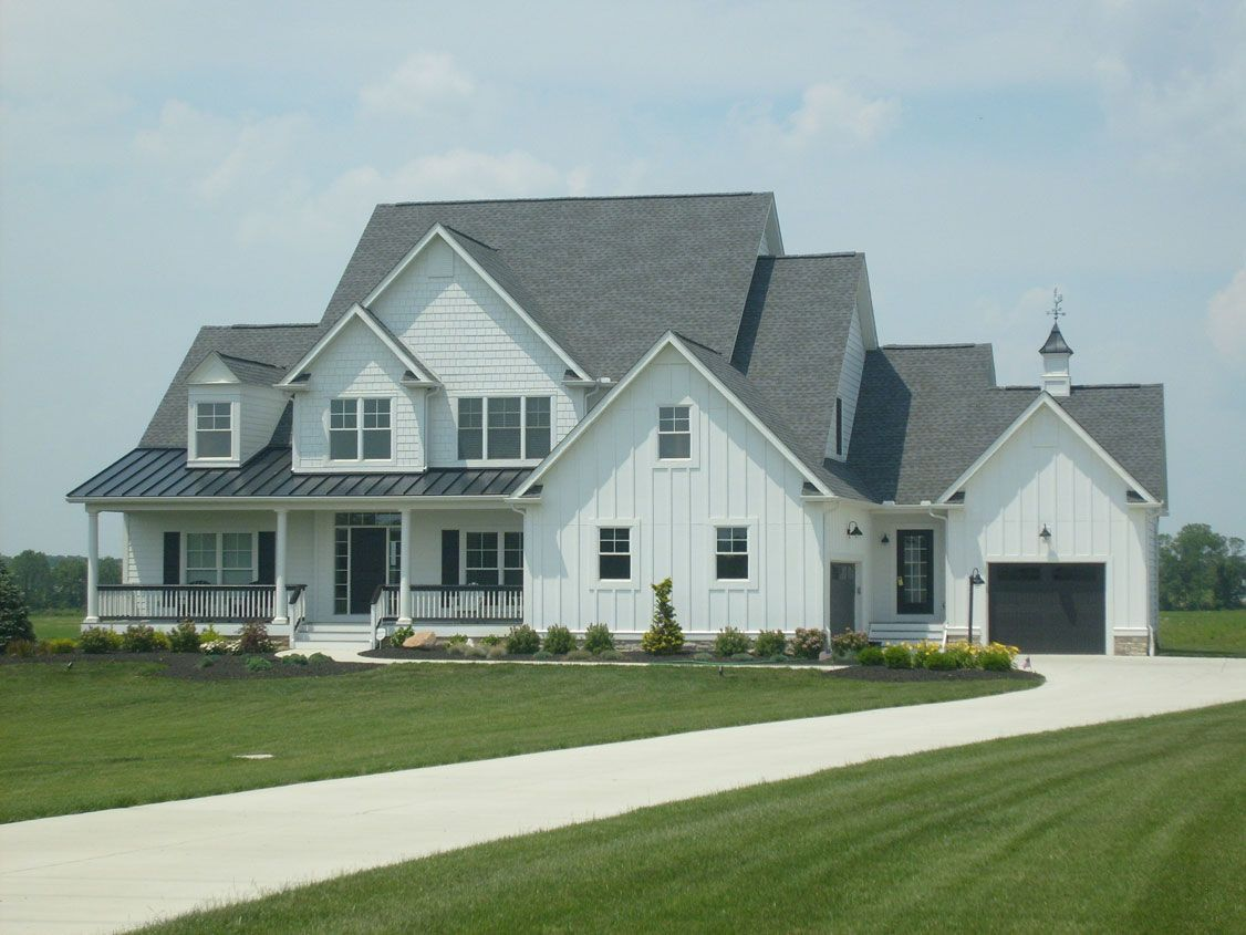 Farmhouse Exterior Colors With Metal Roof Charcoal Roofs And White Houses White Siding Black