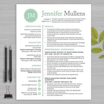 RESUME TEACHER Template For MS Word + Educator Resume Writing - resumes for educators