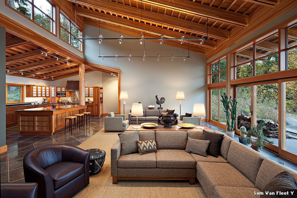 Clerestory Windows Contemporary Living Room with Sloped