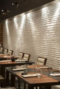 Restaurant with Unique White Embossed Wall Treatment