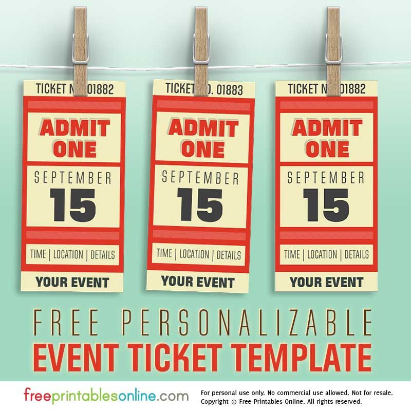 Free Personalized Event Ticket Template (Free Printables Online - free printable ticket templates