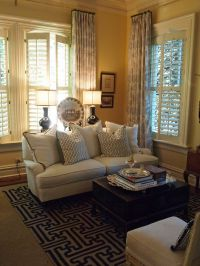 Living Room-love the drapes with shutters, trunk ...