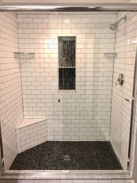 Master shower - Subway tile with grey grout, vertical ...