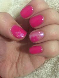 Pink, flower, glitter, summer nail art, short nails ...