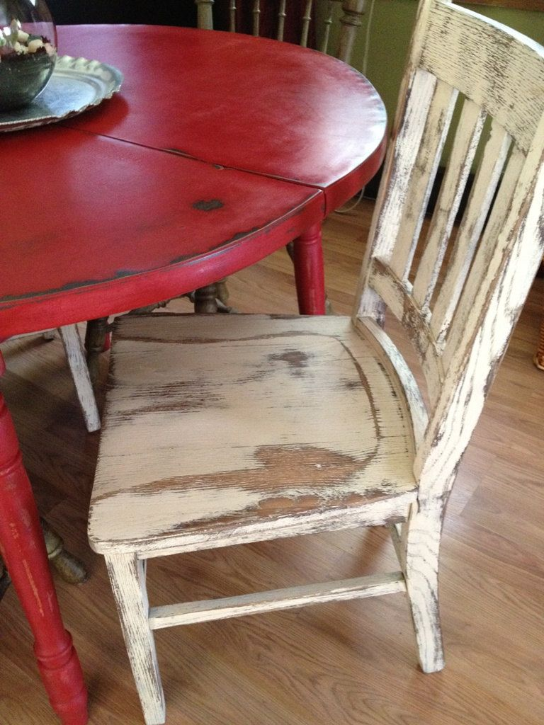 country kitchen tables Distressed Round Country Kitchen Table The chair is a little TOO distressed for me but
