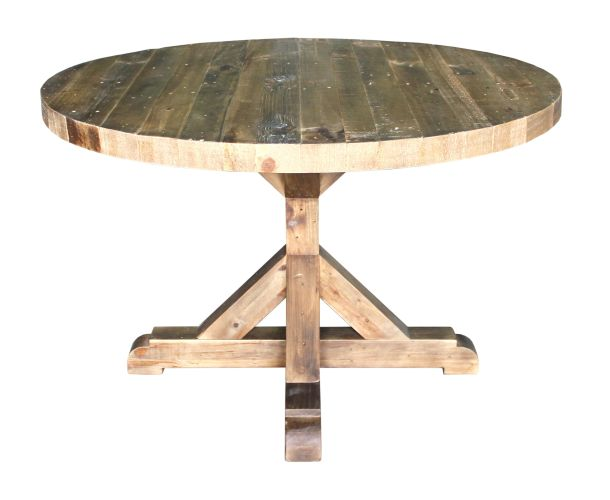 rustic round kitchen table Solid pine round dining table solid wood furniture rustic finish