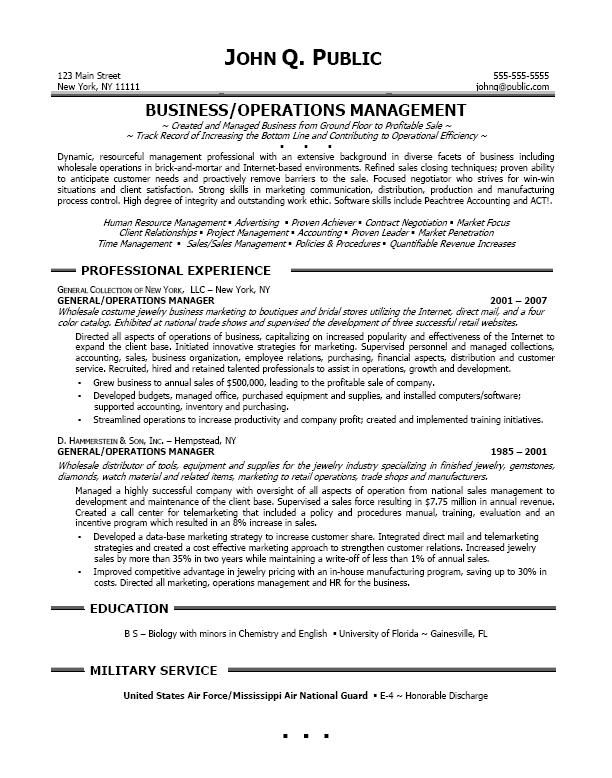 resume sample professional business operations manager examples - operations management resume