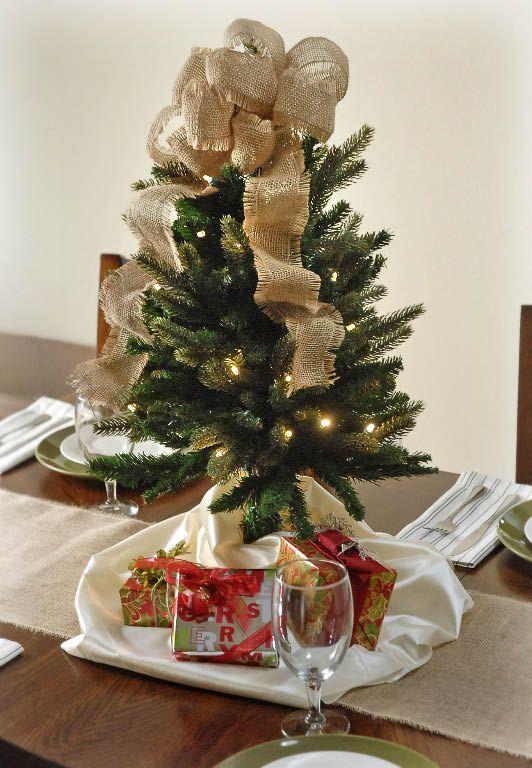 Mini Lighted LED Christmas Tree as a centerpiece at Christmas - mini christmas tree decorations