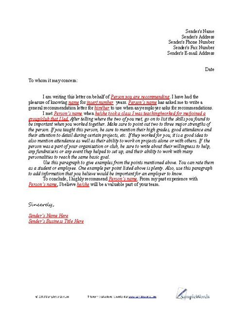 Letter of Recommendation Sample Letters - formats for letters of recommendation